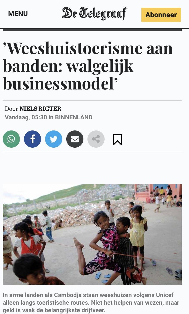 Mediaberichten Rondetafelgesprek Weeshuistoerisme